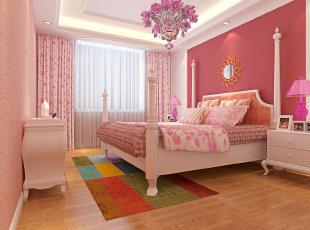 ,129平,13万,宜家,三居,卧室,粉色,白色,