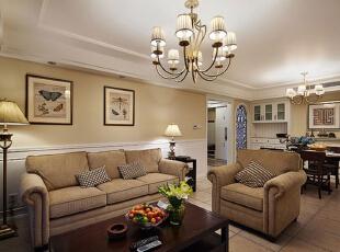 ,115平,10万,美式,公寓,客厅,黄色,
