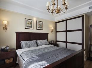 ,115平,10万,美式,公寓,卧室,原木色,白色,