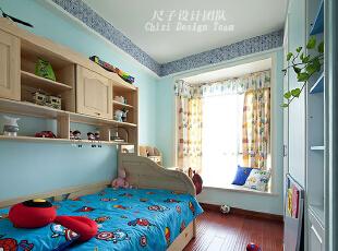 ,150平,70万,欧式,四居,儿童房,蓝色,原木色,