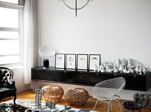 ,105平,9万,现代,公寓,客厅,黑白,