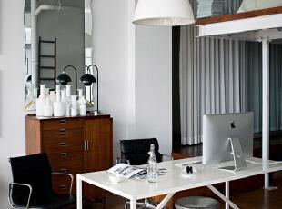 ,105平,9万,现代,公寓,书房,白色,原木色,