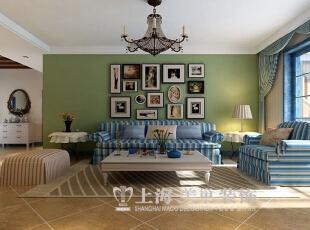 郑州升龙城三室两厅136平方地中海式风格——沙发背景墙效果图,136平,16万,地中海,三居,客厅,绿色,蓝色,