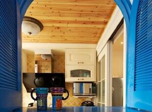 ,126平,17万,地中海,两居,厨房,原木色,蓝色,