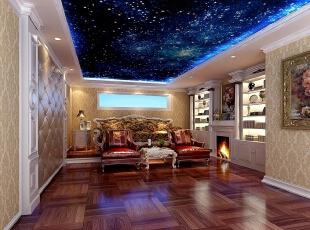 影音室的设计也极尽奢华,同时增加了仿真壁炉作为设计的亮点,隔音与保持是影音室的重点。,515平,10万,混搭,别墅,客厅,原木色,