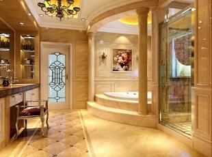 这算是极尽奢华的一个别墅卫生间设计,硕大的卫生间囊括了女主人的梳妆台、大型的浴缸与spa室,当然其他简单实用的功能是不会缺少的。这样的卫生间较多的体现主人的品味生活,放松身心也修养身心。,515平,10万,混搭,别墅,吧台,黄色,