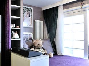,108平,8万,田园,三居,卧室,紫色,白色,