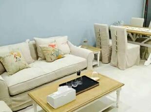 ,90平,9万,现代,Loft,客厅,蓝色,白色,