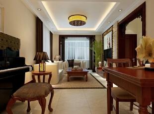 为满足客户家里老人与年轻人共同居住的需求,将房屋设计风格定为中式风格。,82平,11万,中式,两居,客厅,原木色,