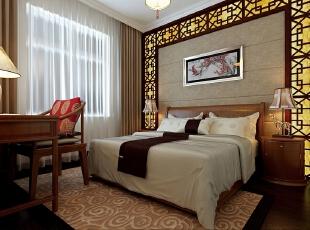 主卧室在色彩方面秉承了传统古典风格的典雅和华贵,但与之不同的是加入了很  多现代的元素,呈现着现代的特征。在配饰的选择方面更为简洁,少了许多奢华  的装饰,更加流畅的表现出中国风的精髓,为居室增添了青春的气息。,82平,11万,中式,两居,卧室,原木色,
