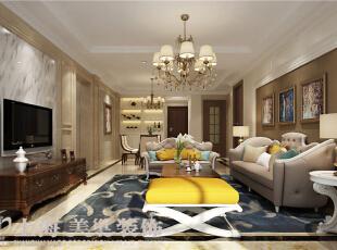 永威五月花城装修138平3室2厅简欧风格案例——客厅装修效果图,138平,12万,欧式,三居,餐厅,白色,