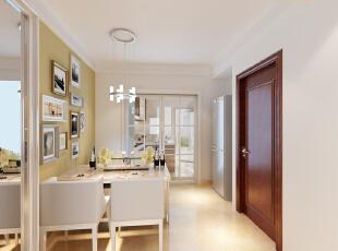 设计理念:现代风格多种元素运用,使得夫妇的二人世界的用餐舒适度会更高。 亮点:石膏边线显得层高比较高,餐厅背景墙简单暖黄色挂装饰画。,106平,7.5万,现代,三居,餐厅,