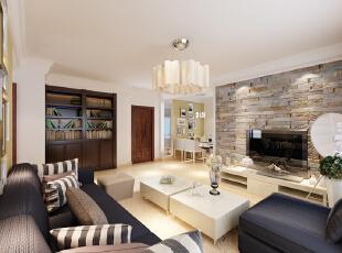 设计理念:呼应是空间的重要元素,配合东打头的客厅窗户,餐厅延续客厅的设计。 亮点:沙发背景色漆呼应餐厅色漆。,106平,7.5万,现代,三居,