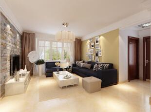设计理念:现代清新风格需要充分放大阳光与色彩的浪漫气息,同时也要兼并温馨与设计感。 亮点:复古文化石的电视背景墙的设计和深色家具及软装配饰的精致搭配,使得风格浑然一体。,106平,7.5万,现代,三居,客厅,