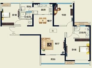 永威五月花城B1户型128平方三室两厅新中式装修效果图 户型图,128平,10万,中式,三居,