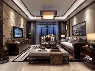 永威五月花城B1户型128平方三室两厅新中式装修效果图 户型图,128平,10万,中式,三居,客厅,原木色,