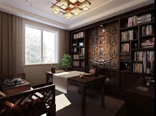 永威五月花城B1户型128平方三室两厅新中式装修效果图 书房,128平,10万,中式,三居,书房,原木色,
