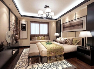 永威五月花城B1户型128平方三室两厅新中式装修效果图 主卧,128平,10万,中式,三居,卧室,黑白,