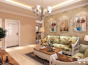 田园风格的壁纸搭上暖色的灯光和浅色地砖给惹一种温馨的感觉。,132平,10万,混搭,三居,客厅,春色,