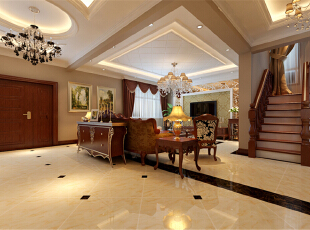 ,210平,20万,欧式,四居,客厅,黄色,