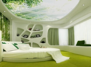大面积的室内墙面绿植与海景缸的设计不仅丰富了空间色彩又起到虚实相间,调整室内空气微循环。,200平,120万,现代,公寓,卧室,白色,绿色,