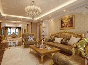 ,300平,80万,新古典,别墅,客厅,黄色,