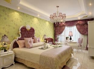 ,300平,80万,新古典,别墅,卧室,黄色,白色,