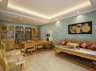 ,300平,80万,新古典,别墅,书房,黄色,蓝色,