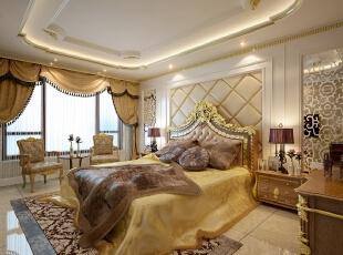 ,300平,80万,新古典,别墅,卧室,黄色,