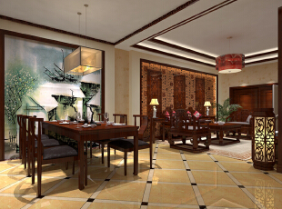 ,280平,43万,中式,别墅,餐厅,原木色,