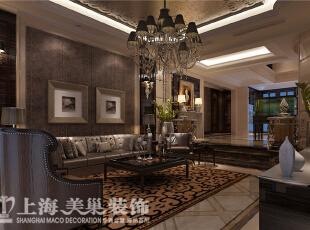 林溪湾480平方别墅新古典风格装修样板间效果图-客厅、沙发背景墙,客厅是下沉式的设计,在区域划分上分为过厅、客厅、餐厅。除了下沉式的客厅外主要有地面石材跟顶部天花来划分,480平,100万,新古典,别墅,