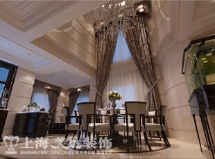 林溪湾别墅新古典风格装修样板间-餐厅效果图,480平,100万,新古典,别墅,
