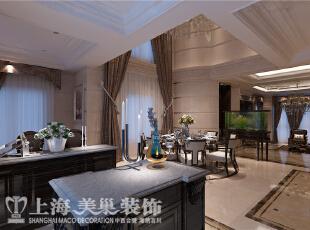 郑州林溪湾82栋别墅新古典装修效果图-门厅、客厅背景、餐厅,这个角度直对门口,可以看到公共区域的横切轮廓。下沉式的客厅,挑空的餐厅,让整个公共区域的空间层次分明。,480平,100万,新古典,别墅,