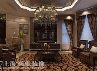 郑州林溪湾82栋480平新古典风格装修效果图-电视背景墙,480平,100万,新古典,别墅,