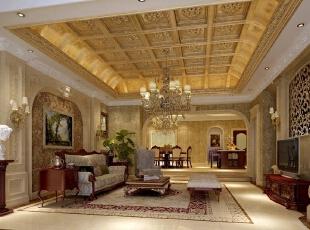 别墅的主人是一名常年经商的商人,平时多朋友拜访,所以要求空间开阔、装饰大气舒适。为此,设计师将风格定位为西方新古典主义,在设计中运用传统美学法则,利用现代材料将结构造型和室内设计造型以一种全新的方式营造出规整、端庄、典雅、有高贵感的装饰效果。 利用精心设计的雕花吊顶、楼梯间隔断墙和铁艺扶手与石材装饰柱的搭配,营造一种高端、大气的会客氛围。,315平,70万,新古典,别墅,