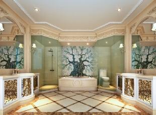 创意十足的卫生间,对称式布局让空间更加规整,雕花装饰掩盖了卫生间惯有的局限性,马赛克的利用起到点睛作用。,315平,70万,新古典,别墅,