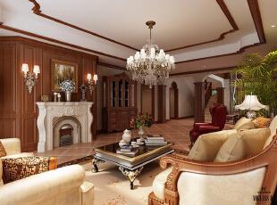 红磡领世郡 美式优雅格调别墅设计-客厅,360平,60万,美式,别墅,