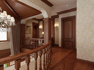 红磡领世郡 美式优雅格调别墅设计-二层走廊  通过餐厅旁的楼梯步入二楼,首先映入眼帘的就是这条承弧线的走廊。设计师设计的开放式走廊,不仅连接了二楼的各个房间,更多的则是利用低调优雅的造型与精致的色彩,为整个别墅装修设计带来一抹和谐。,360平,60万,美式,别墅,