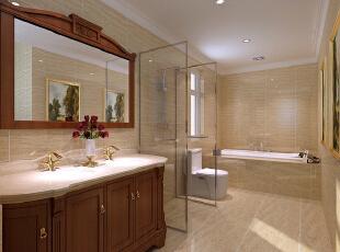 红磡领世郡 美式优雅格调别墅设计-卫生间  卫生间更多的是功能区域的合理划分。浴缸、淋浴与洗手盆干湿分离,保证空间的干燥性和舒适性,侧开的窗户更是保证了卫生间的空气清新,减少了卫生间的细菌滋生,为家人的身体健康铸造良好的保护。,360平,60万,美式,别墅,