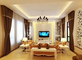 客厅经过精心布置。与餐厅之间设计了白色雕花装饰隔断,拱形的门及哑口是欧式元素的体现。电视背景墙凹凸造型更家有层次感,两侧的斜铺银镜使得空间更明亮更宽敞。饰品的搭配显示出自主人的富足和品位;地面及部分墙面运用了米黄色天然大理石做饰面,显示豪气尊贵。而镂空的雕花与水晶的灯饰相映成趣,以及精致的沙发、欧式的茶几、个性化的台灯,足以把路易十四时期的盛世再现。玄关的照片墙又添加了现代的感受,更体现了家的温馨。,300平,20万,小资,别墅,