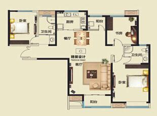 永威五月花城C1户型145平方三室两厅现代简约装修效果图 户型图,145平,10万,现代,三居,客厅,
