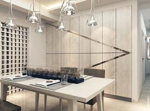 设计理念:室内空间开敞、内外通透,在空间平面设计中追求不受承重墙限制的自由。 设计亮点:客餐厅连为一体,大气通透,更加淋漓尽致的体现时尚、自由、和谐之美。,140平,12万,现代,三居,餐厅,