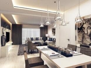 """设计理念:简约的背后也体现一种现代""""消费观""""。即注重生活品味、注重健康时尚、注重合理节约科学消费。 设计亮点:内嵌式柜子的设计最大程度的增加了生活中的储物空间,与此同时,造型上的简约又时尚为餐厅又增添了另一道风景线。,140平,12万,现代,三居,餐厅,客厅,"""