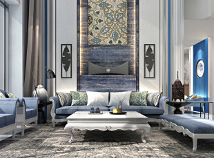 客厅简约中带有地中海与丽江相互碰撞的风格。,600平,350万,地中海,别墅,