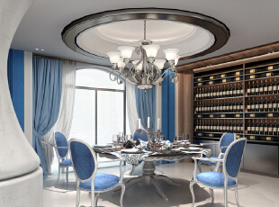 餐厅运用了地中海原本的优美弧线营造出优雅的感觉同时也加入丽江当地木的元素。,600平,350万,地中海,别墅,