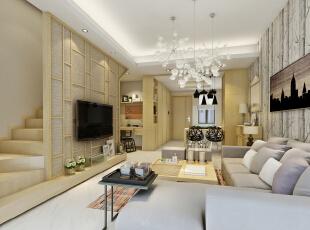 ,86平,15万,现代,复式,客厅,白色,原木色,
