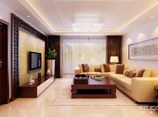 暖黄色壁纸与镂空隔断结合的电视背景墙简洁且富有中式的韵味,这种绝妙的组合流露出时尚与古典并存的气息。,128平,9万,中式,三居,