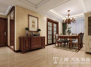 鑫苑景园140平美式乡村风格装修案例——餐厅装修效果图,140平,6万,美式,三居,客厅,