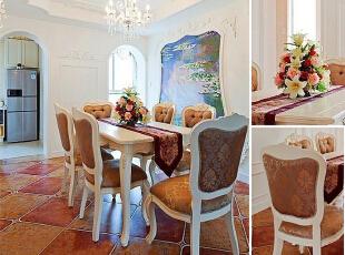 这间婚房的餐厅空间看上去算是比较宽敞的,一旁墙面上的风景壁画让这个用餐空间多出一份唯美的感觉,吊顶上也同样不缺立体花纹作修饰,水晶吊灯之下的餐桌显得尤为明亮华贵。,150平,15万,混搭,三居,