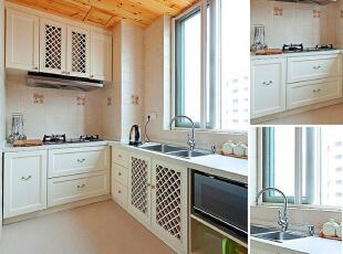 厨房里大量运用白色与木色作搭配,让这间厨房中带有了一种清新自然的感觉,正对水槽的大窗户让这间厨房显得亮堂整洁,相信有不少人热衷于这样的厨房装修吧?,150平,15万,混搭,三居,